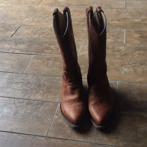 Frye cowboy boots.